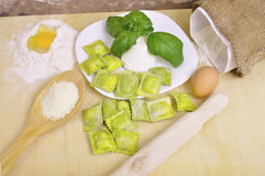 Ravioli with ricotta and basil Stock Photo