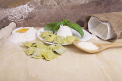 Ravioli with ricotta and basil Royalty Free Stock Photography