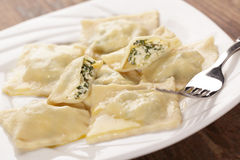 Ravioli with ricotta and spinach Royalty Free Stock Images