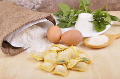 Ravioli with ricotta and spinach Stock Photo