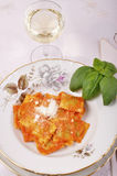 Ravioli with ricotta and spinach Stock Photos