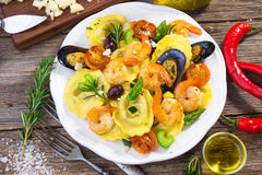 Ravioli with seafood Stock Images