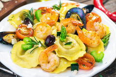 Ravioli with seafood Royalty Free Stock Photography