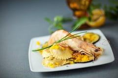 Ravioli and shrimp starter Stock Images