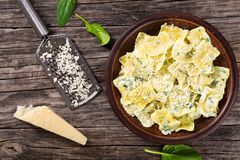 Ravioli smothered in a creamy spinach sauce, top view Royalty Free Stock Images