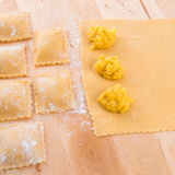 Ravioli with spicy butternut pumpkin filling Stock Photos