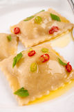 Ravioli with spicy butternut pumpkin filling Royalty Free Stock Photos