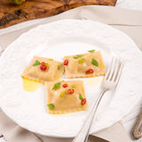 Ravioli with spicy butternut pumpkin filling Stock Images