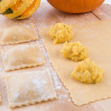 Ravioli with spicy butternut pumpkin filling Royalty Free Stock Photography