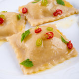 Ravioli with spicy butternut pumpkin filling Royalty Free Stock Image