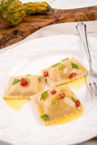 Ravioli with spicy butternut pumpkin filling Royalty Free Stock Photo