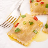 Ravioli with spicy butternut pumpkin filling Stock Image