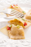 Ravioli with spicy butternut pumpkin filling Stock Photo