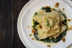 Ravioli with spinach, ricotta and nutmeg. On a white plate on a dark wooden background Stock Photos