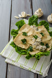 Ravioli stuffed with mushrooms and ricotta Royalty Free Stock Image