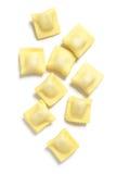Ravioli, Stuffed Pasta, on White Background Stock Images