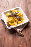 Ravioli stuffed to artichokes with butter and sage Royalty Free Stock Photos