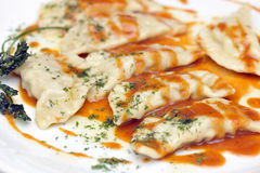 Ravioli in tomatensaus Royalty-vrije Stock Fotografie