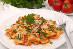 Ravioli in tomato sauce Royalty Free Stock Images
