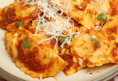 Ravioli in Tomato Sauce with Cheese Royalty Free Stock Photo