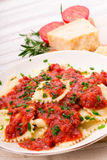 Ravioli with Tomato Sauce Royalty Free Stock Photos