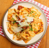 Ravioli in Tomato Sauce with Parmesan Cheese Stock Images