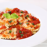 Ravioli with tomato sauce Pasta noodles meal on plate Stock Photo