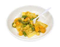 Ravioli and vegetable meal with fork Stock Image
