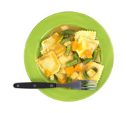 Ravioli Vegetables Fork On Plate Top View Stock Photo