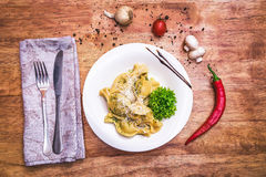 Ravioli on the white plate Royalty Free Stock Images