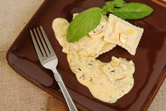 Ravioli With Sauce Royalty Free Stock Photography