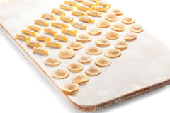 Ravioli on wooden board. Ravioli with flour on wooden board Royalty Free Stock Photos