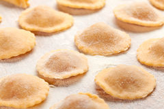 Raviolir on wooden board. Ravioli with flour on wooden board Stock Photo