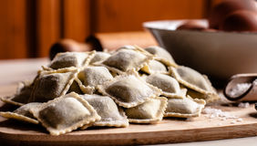 Raviolis hechos en casa italianos Foto de archivo libre de regalías