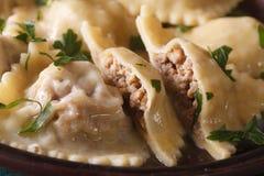 Raviolis italianos con macro de la carne en una placa marrón horizontal Imagen de archivo libre de regalías