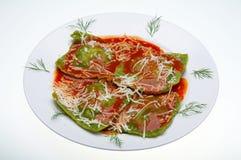 Raviolis italianos del alimento fotografía de archivo