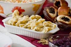 Raviolis vegetarianos con las setas Fotos de archivo libres de regalías