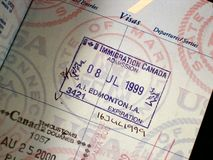 Ravissez le visa Canada photographie stock