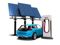 Ravitaillement moderne de concept avec les panneaux solaires pour le CCB de voitures électriques illustration de vecteur