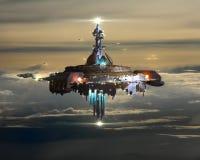 Ravitailleur étranger au-dessus des nuages sur terre illustration libre de droits
