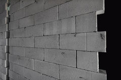 Raw AAC autoclaved aerated concrete wall, angle view,  background. Royalty Free Stock Photo