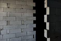 Raw AAC autoclaved aerated concrete walls, angle view,  background. Stock Photos