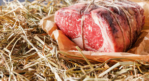 Raw aged prime black angus beef in craft papper on straw Stock Photography