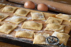 Raw Agnolotti Pasta On Cutting Board Stock Photography