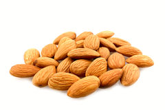 Raw almonds. Isolated on white background Royalty Free Stock Photography