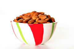 Raw almonds in a bowl Royalty Free Stock Photos