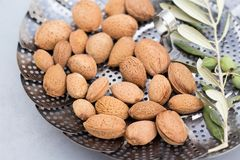 Raw almonds in shell. Organic tasty raw almonds in shell Royalty Free Stock Photo