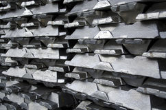 Raw aluminum ingots Royalty Free Stock Images