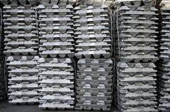 Raw aluminum ingots royalty free stock photos