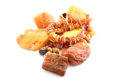The raw amber from coast of the Baltic sea Stock Photography